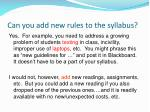 can you add new rules to the syllabus