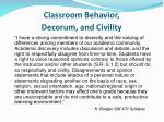 classroom behavior decorum and civility