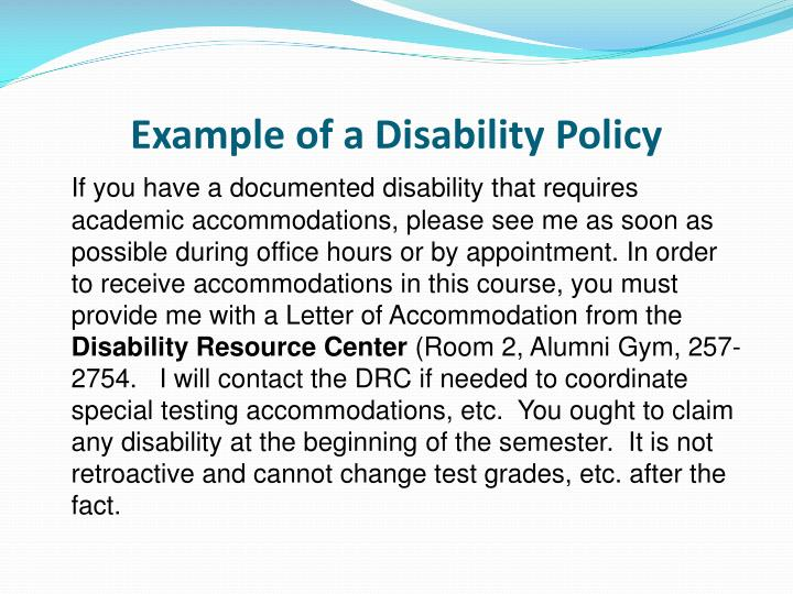 Example of a Disability Policy