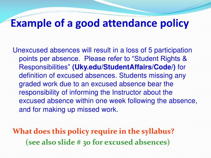 Example of a good attendance policy