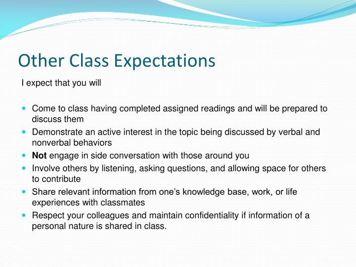 Other Class Expectations