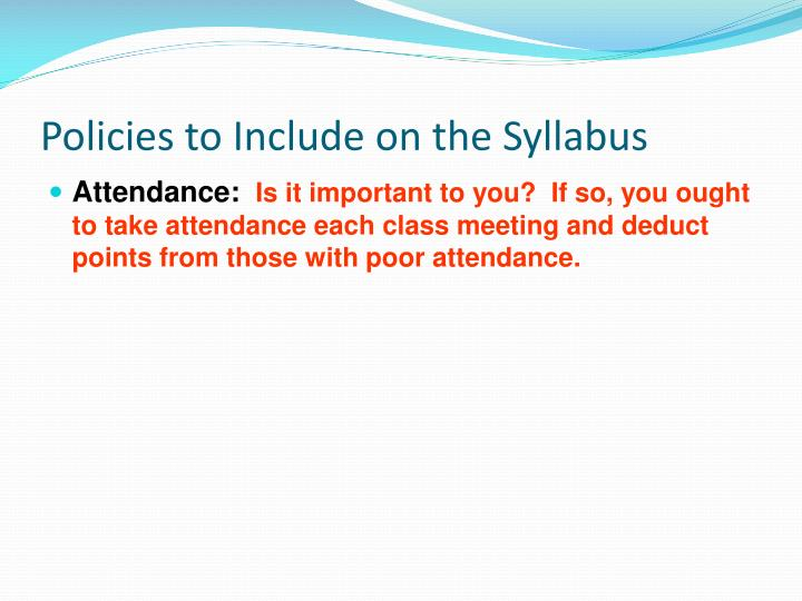 Policies to Include on the Syllabus