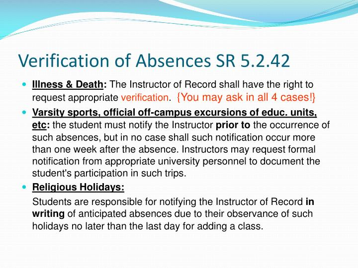 Verification of Absences SR 5.2.42