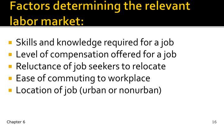 Factors determining the relevant labor market: