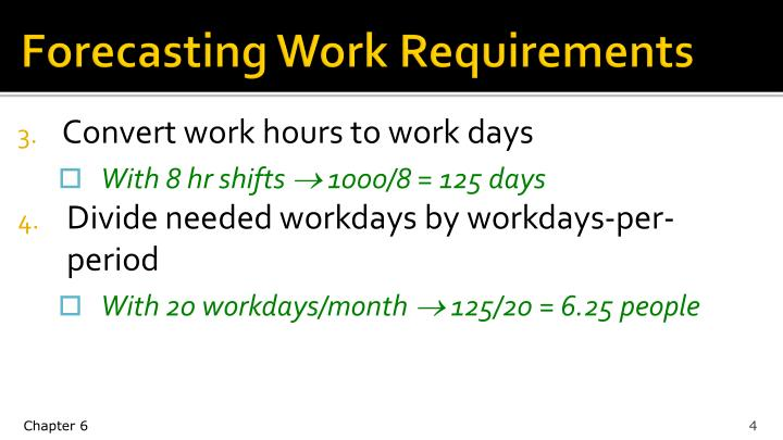 Forecasting Work Requirements
