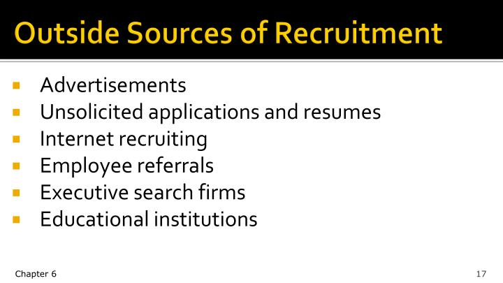 Outside Sources of Recruitment