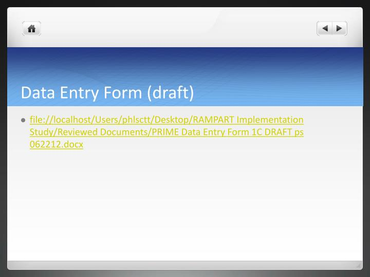 Data Entry Form (draft)