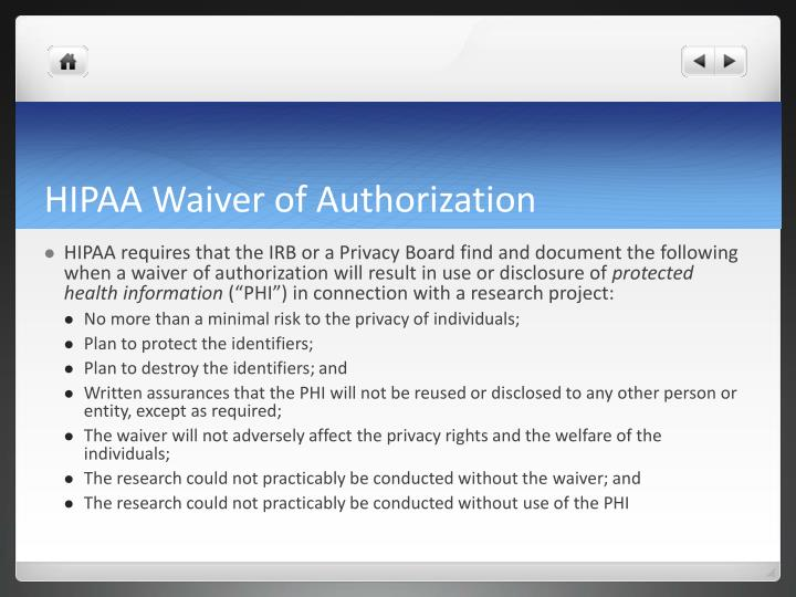 HIPAA Waiver of Authorization