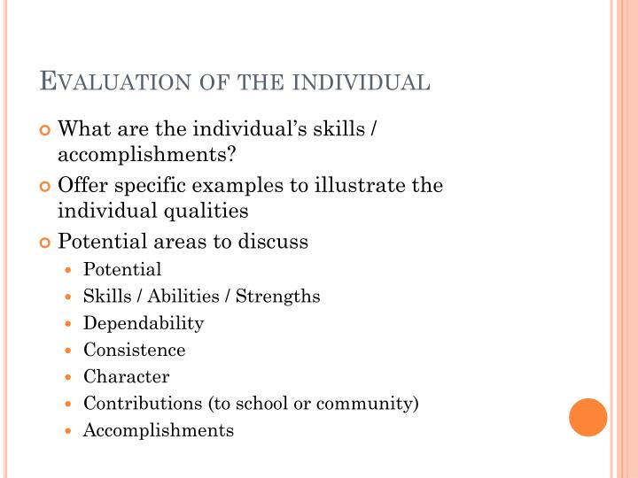 Evaluation of the individual
