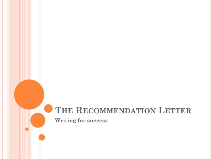 The recommendation letter