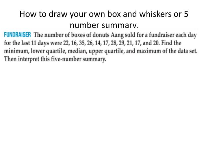 How to draw your own box and whiskers or 5 number summary.