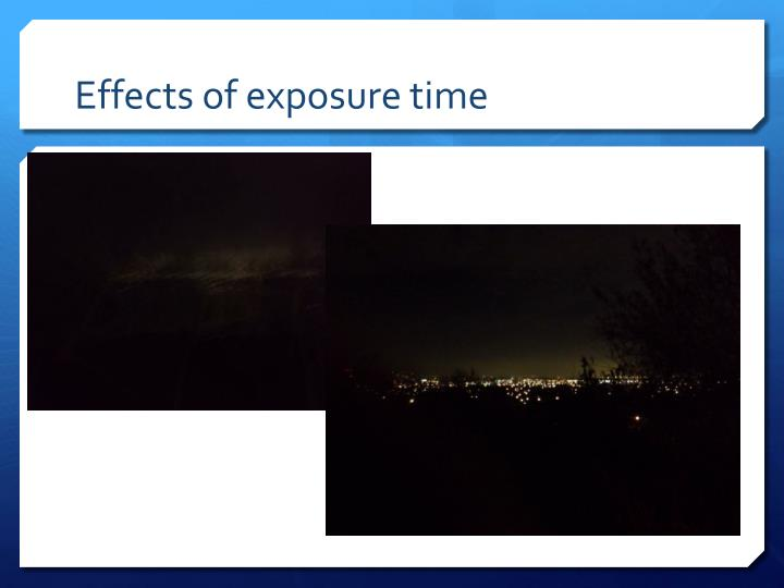 Effects of exposure time