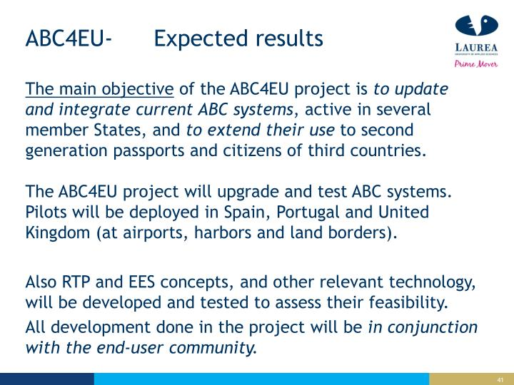 ABC4EU-Expected results