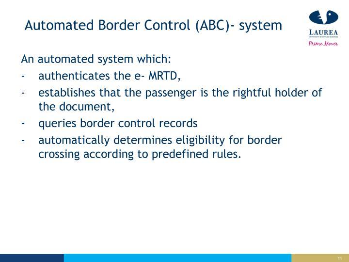 Automated Border Control (ABC)-