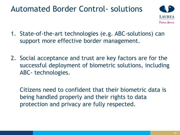 Automated Border Control- solutions