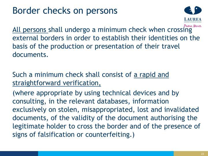Border checks on persons