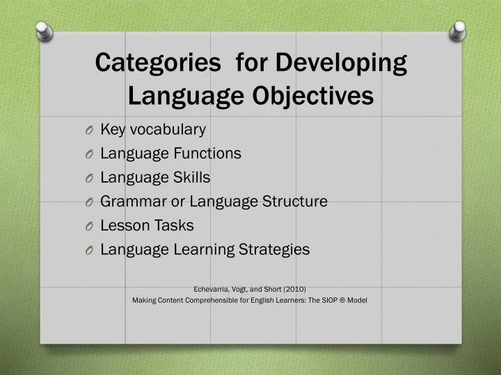 Categories  for Developing