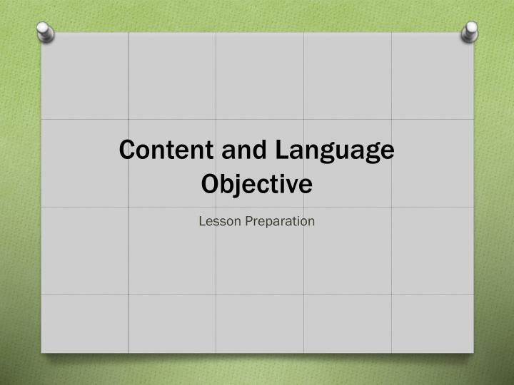 Content and Language Objective