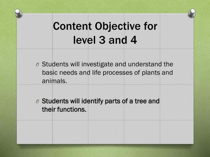 Content Objective for