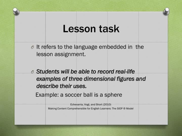 Lesson task