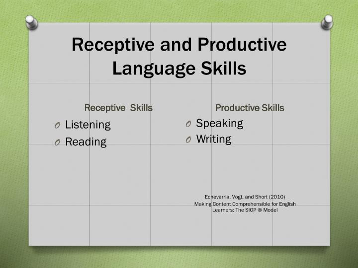 Receptive and Productive Language Skills