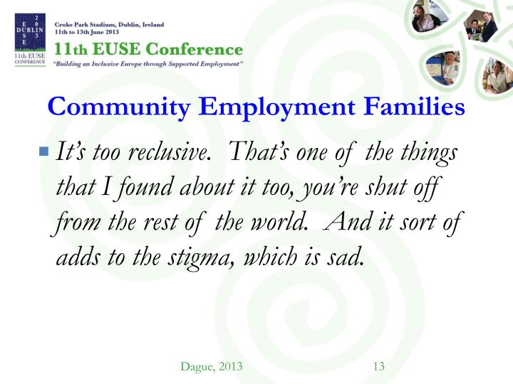 Community Employment Families