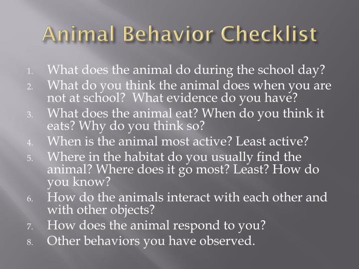 Animal Behavior Checklist