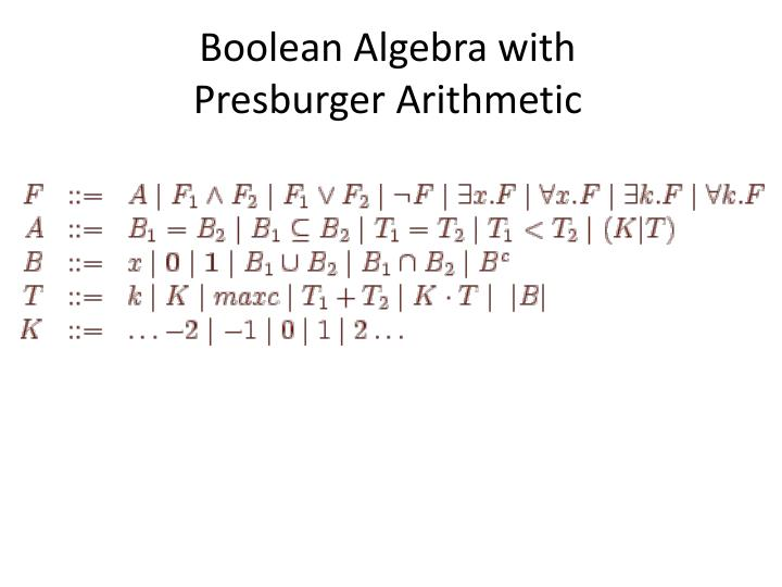 Boolean algebra with presburger arithmetic