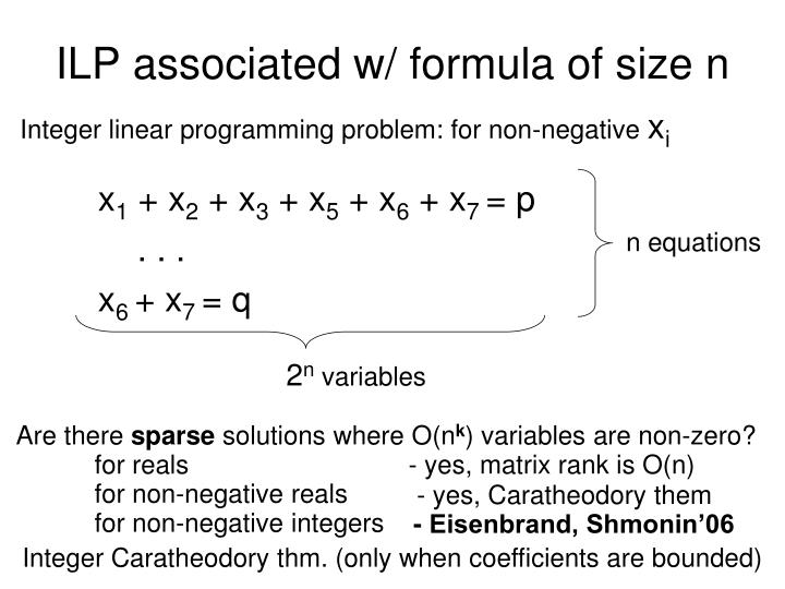 ILP associated w/ formula of size n
