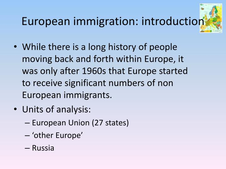 European immigration: introduction