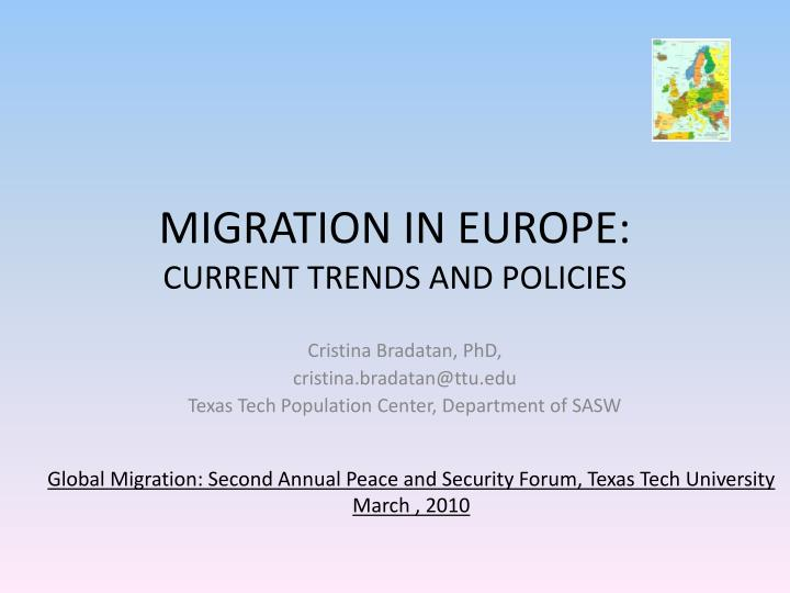 MIGRATION IN EUROPE: