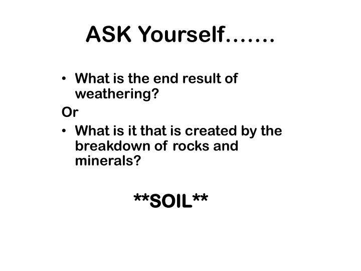ASK Yourself…….