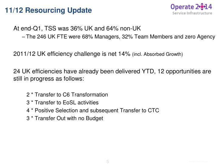11/12 Resourcing Update