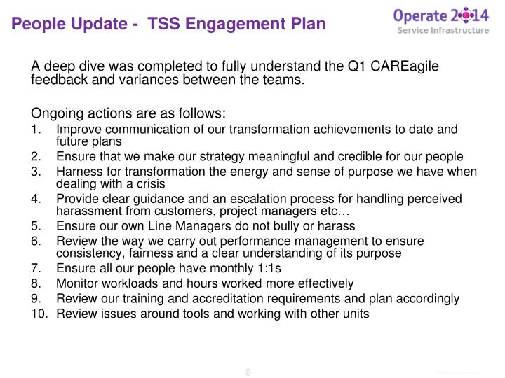 People Update -  TSS Engagement Plan