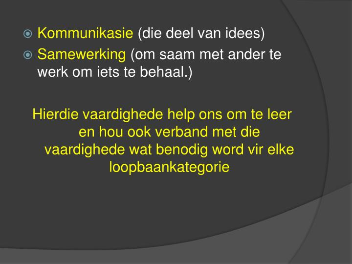 Kommunikasie