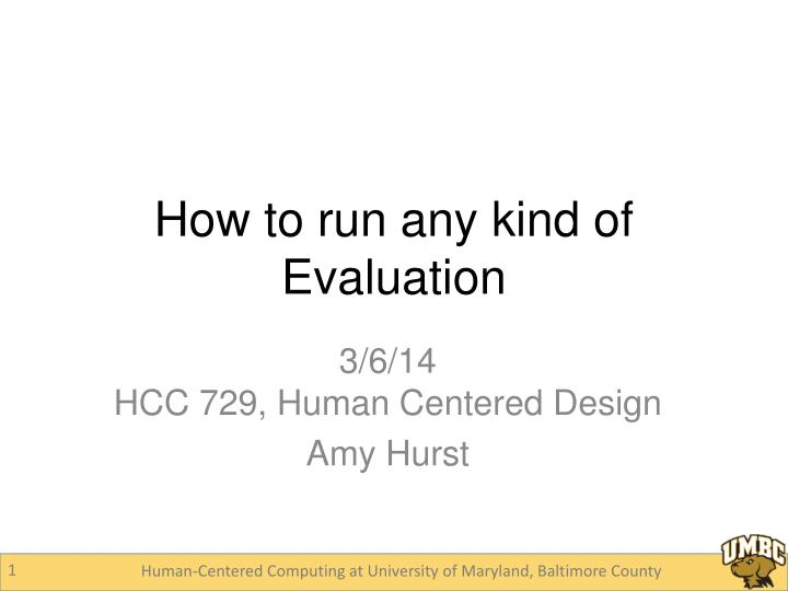How to run any kind of evaluation