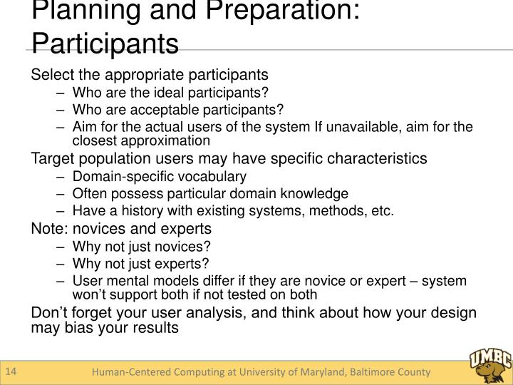 Planning and Preparation: Participants