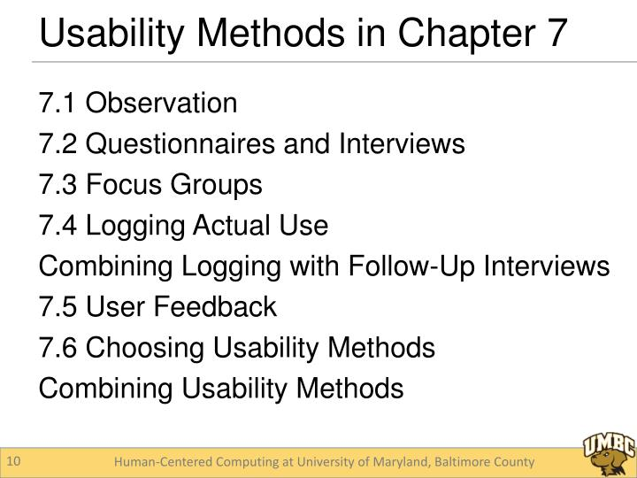 Usability Methods in Chapter 7