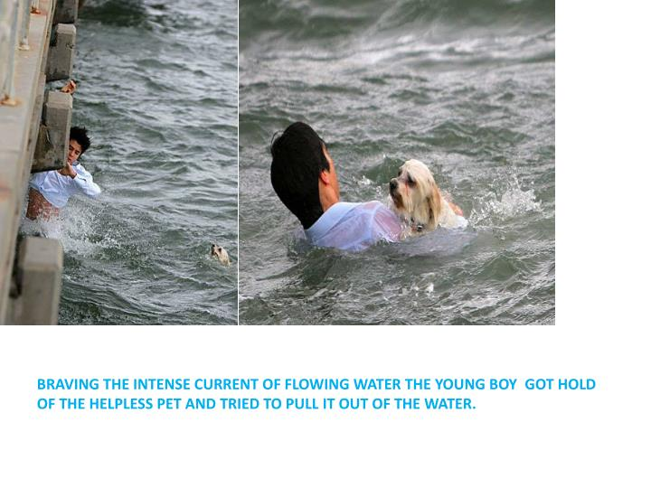 BRAVING THE INTENSE CURRENT OF FLOWING WATER THE YOUNG BOY  GOT HOLD