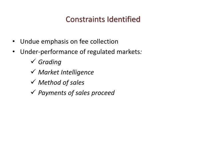 Constraints Identified