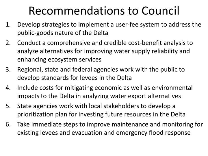 Recommendations to council