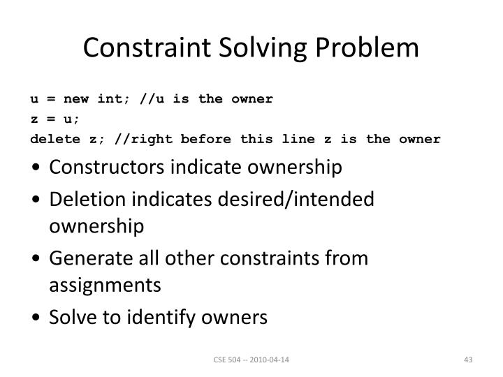 Constraint Solving Problem