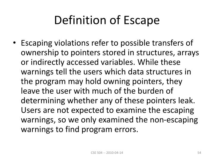 Definition of Escape