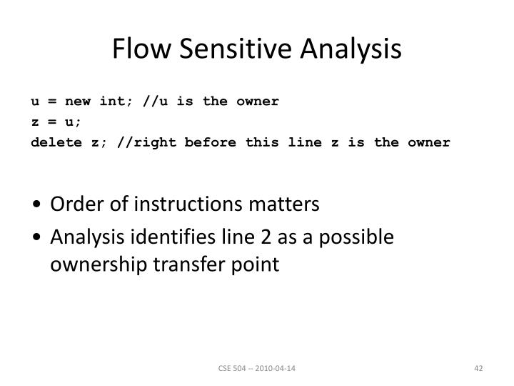 Flow Sensitive Analysis