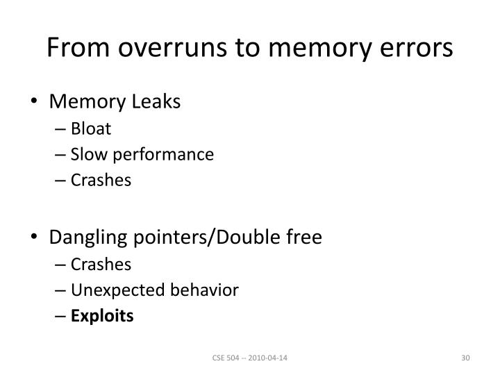 From overruns to memory errors