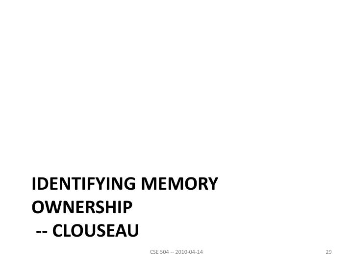 Identifying Memory Ownership