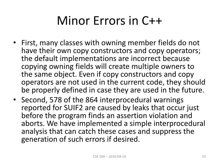 Minor Errors in C++