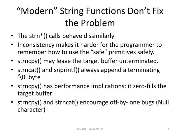 """Modern"" String Functions Don't Fix the Problem"