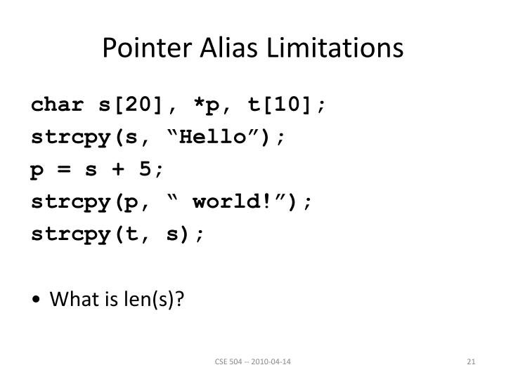 Pointer Alias Limitations