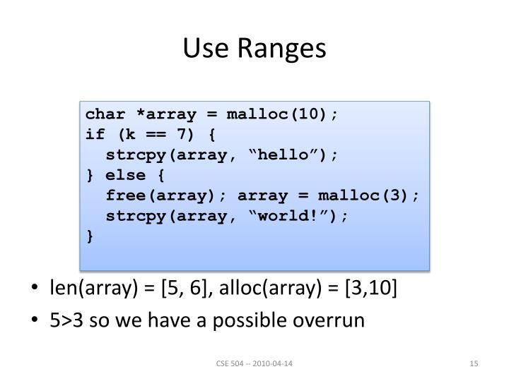 Use Ranges